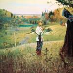 На картине изображен отрок Варфоломей, будущий преподобный Сергий Радонежский, получающий благословение от старца, после которого у отрока открылся ум к познанию Священного Писания и грамоты.